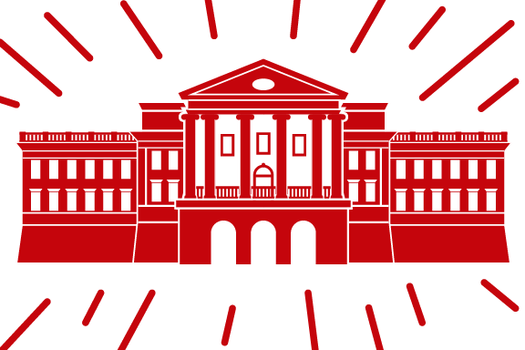Red graphic 的 Bascom Hall on a white background, surrounded by red streaks
